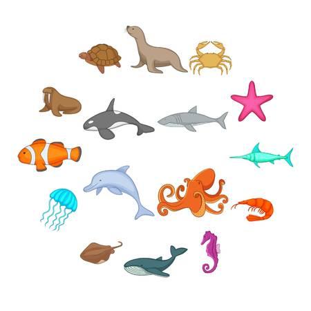 Ocean inhabitants icons set. Cartoon illustration of 16 ocean inhabitants vector icons for web