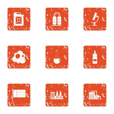 Chemical currency icons set. Grunge set of 9 chemical currency vector icons for web isolated on white background