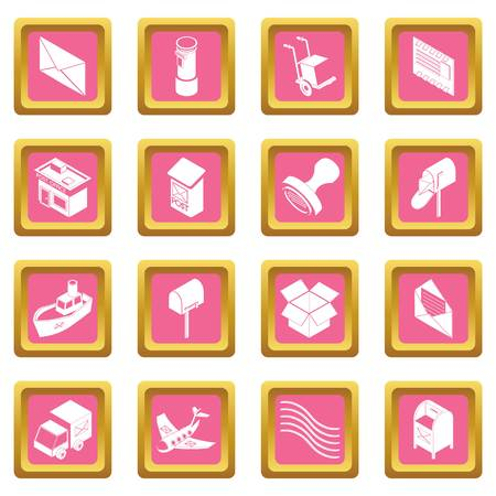 Poste service icons set vector pink square isolated on white background