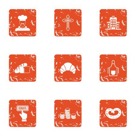 Currency donation icons set. Grunge set of 9 currency donation vector icons for web isolated on white background Illustration