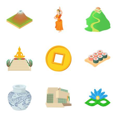 Global route icons set. Cartoon set of 9 global route vector icons for web isolated on white background