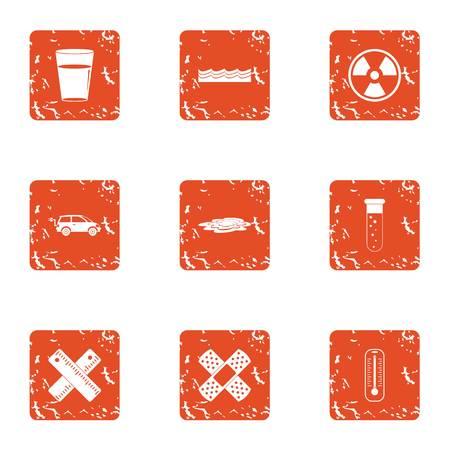 Chemical ingredient icons set. Grunge set of 9 chemical ingredient vector icons for web isolated on white background