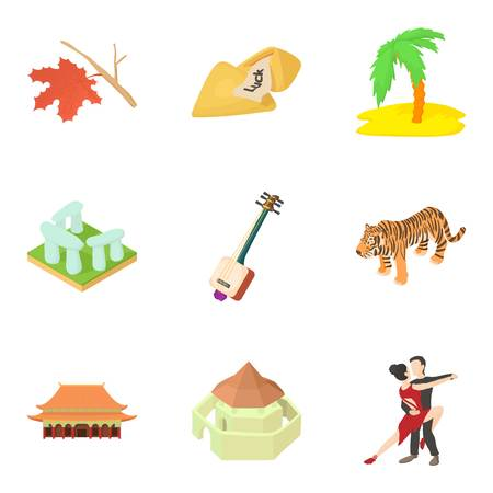 Beach story icons set. Cartoon set of 9 beach story vector icons for web isolated on white background
