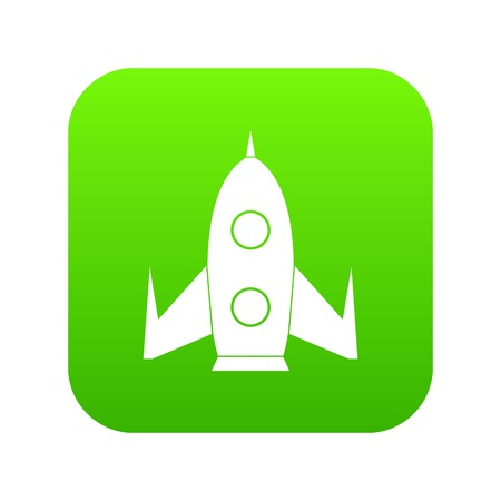 Rocket icon digital green for any design isolated on white vector illustration