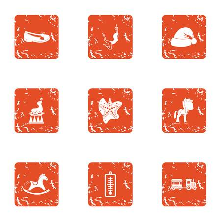 Christmas time icons set. Grunge set of 9 christmas time vector icons for web isolated on white background Illustration