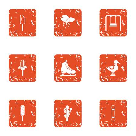 Kid reality icons set. Grunge set of 9 kid reality vector icons for web isolated on white background
