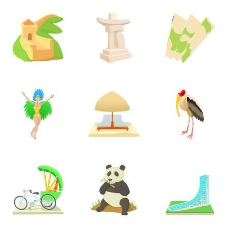 Global entertainment icons set. Cartoon set of 9 global entertainment vector icons for web isolated on white background