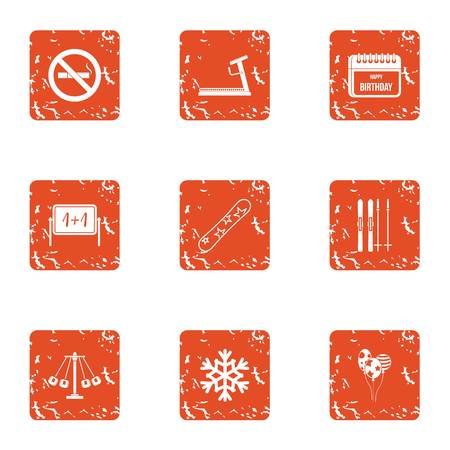 Echool reality icons set. Grunge set of 9 school reality vector icons for web isolated on white background