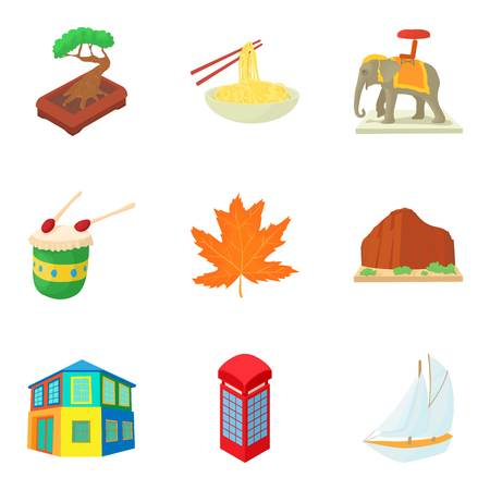 Continental travel icons set. Cartoon set of 9 continental travel vector icons for web isolated on white background