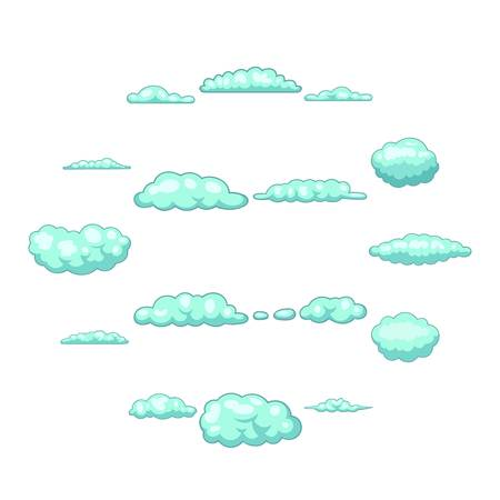 Clouds icons set. Cartoon illustration of 16 clouds vector icons for web Stock Illustratie