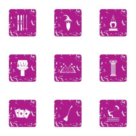 Magical journey icons set. Grunge set of 9 magical journey vector icons for web isolated on white background