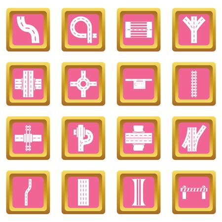 Road parts constructor icons set vector pink square isolated on white background