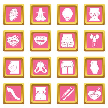 Body parts icons set vector pink square isolated on white background  Vettoriali