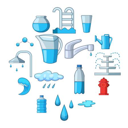 Water icons set. Cartoon illustration of 16 water vector icons for web Illustration