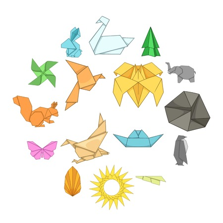 Origami icons set. Cartoon illustration of 16 origami vector icons for web  イラスト・ベクター素材