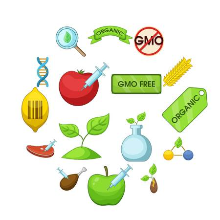 GMO goods set food. Flat illustration of 16 GMO goods vector icons for web