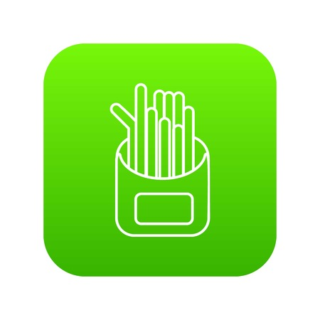 French fries icon green vector isolated on white background