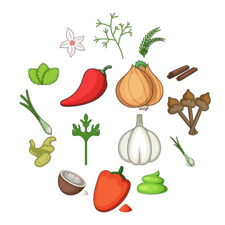 Spice icons set. Cartoon illustration of 16 spice vector icons for web