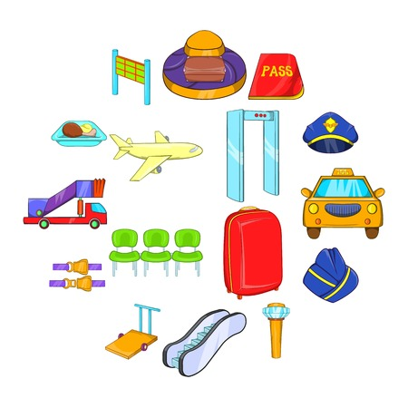 Airport icons set in cartoon style isolated on white background
