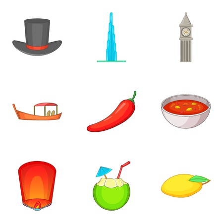 Mysterious world icons set. Cartoon set of 9 mysterious world vector icons for web isolated on white background Illusztráció
