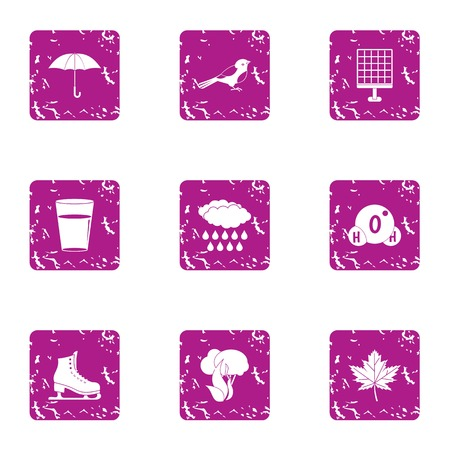 Winter weekend icons set. Grunge set of 9 winter weekend vector icons for web isolated on white background 일러스트