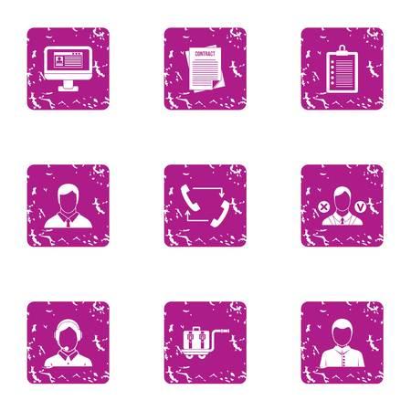 Adviser icons set. Grunge set of 9 adviser vector icons for web isolated on white background Illustration