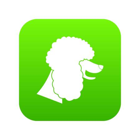 Poodle dog icon digital green for any design isolated on white vector illustration