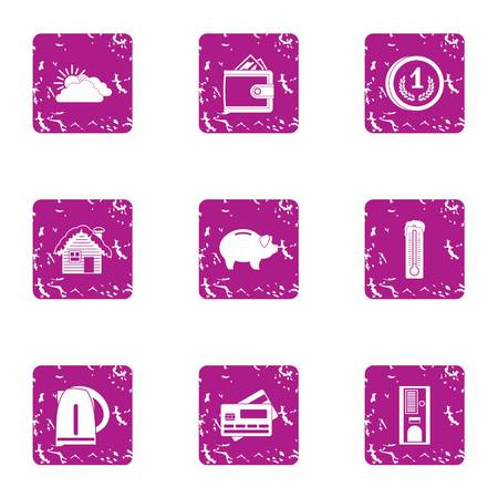 Mortgage icons set. Grunge set of 9 mortgage vector icons for web isolated on white background