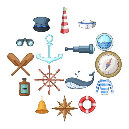 Nautical icons set. Cartoon illustration of 16 nautical vector icons for web Standard-Bild - 100787130