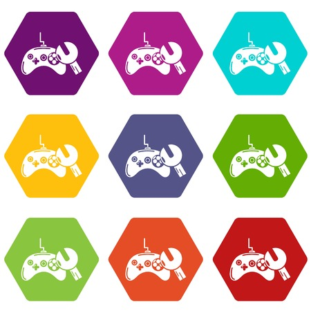 Gamepad repairicons 9 set coloful isolated on white for web