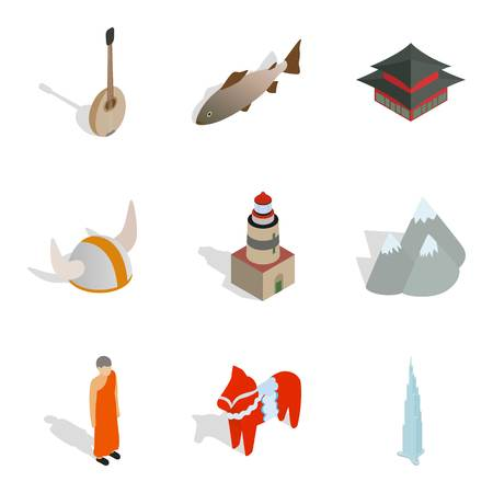 Nordic icons set. Isometric set of 9 nordic vector icons for web isolated on white background