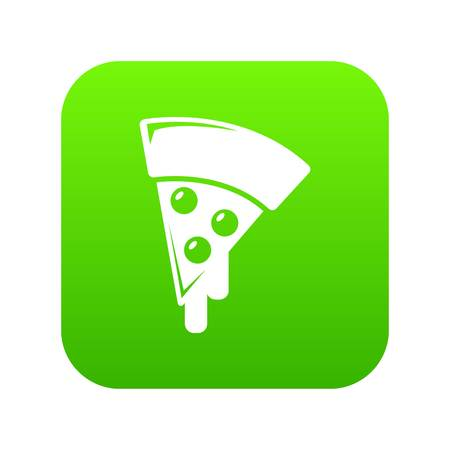 Pizza icon green vector isolated on white background Stock Illustratie