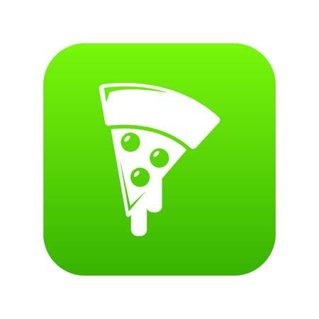 Pizza icon green vector isolated on white background Ilustração