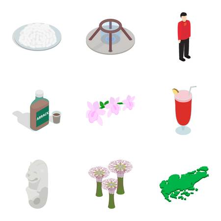 Foreign place icons set. Isometric set of 9 foreign place vector icons for web isolated on white background