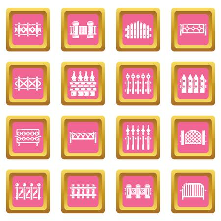 Different fencing icons set vector pink square isolated on white background  Illustration