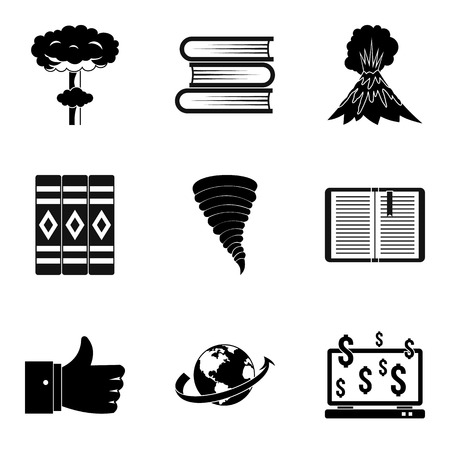 Literary icons set. Simple set of 9 literary vector icons for web isolated on white background