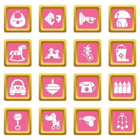 Kindergarten tools icons set vector pink square isolated on white background