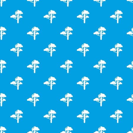 Cloud tree pattern vector seamless blue repeat for any use