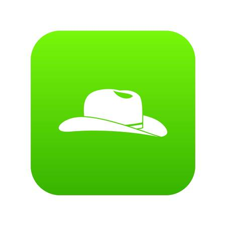 Cowboy hat icon digital green for any design isolated on white vector illustration