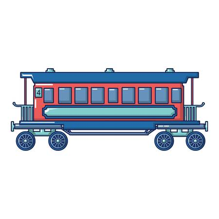 Retro passenger wagon icon. Cartoon of retro passenger wagon vector icon for web design isolated on white background Illustration