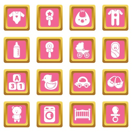Baby born icons set vector pink square isolated on white background  向量圖像