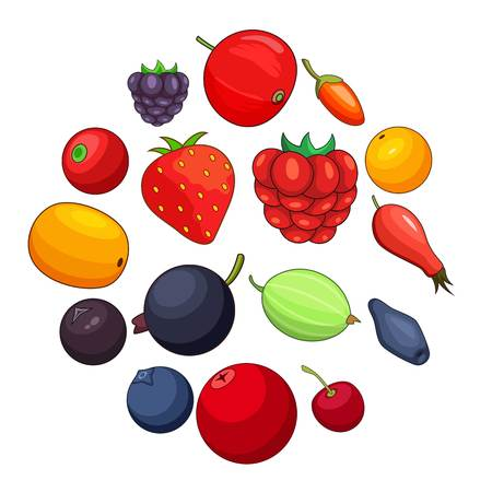 Berries icons set. Cartoon illustration of 16 berries vector icons for web Illustration