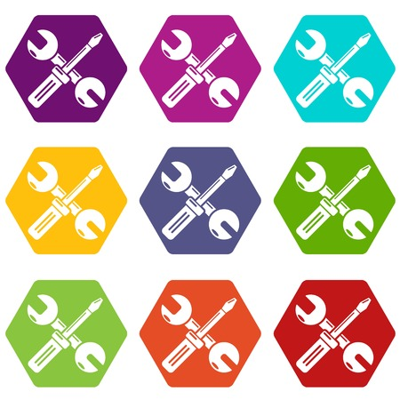 Tools repairicons 9 set coloful isolated on white for web Illustration