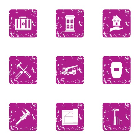 Worker builder icons set. Grunge set of 9 worker builder vector icons for web isolated on white background Çizim