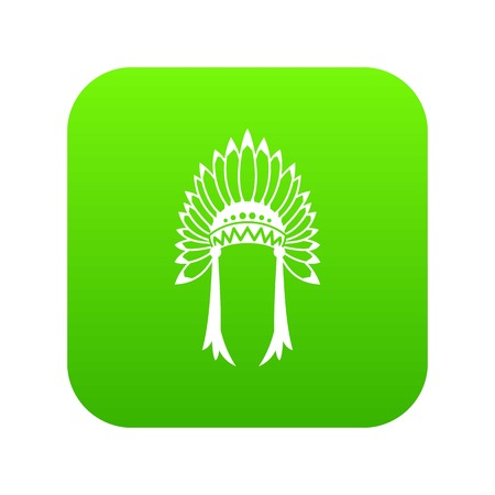 Indian headdress icon digital green for any design isolated on white vector illustration