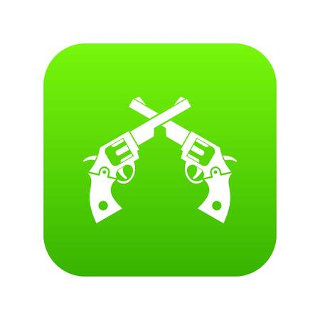 Revolvers icon digital green for any design isolated on white vector illustration Çizim