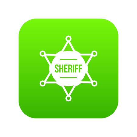 Sheriff badge icon digital green for any design isolated on white vector illustration