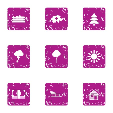 Winter homeplace icons set. Grunge set of 9 winter homeplace vector icons for web isolated on white background 일러스트