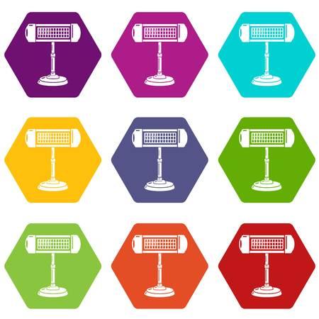 Ufo heater icons 9 set coloful isolated on white for web Illustration