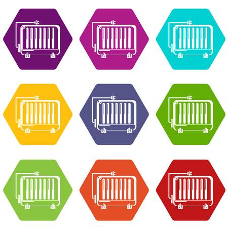 Electric battery icons 9 set coloful isolated on white for web